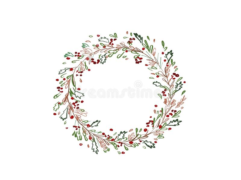 Christmas wreath. Stylish abstract christmas wreath with green f royalty free illustration