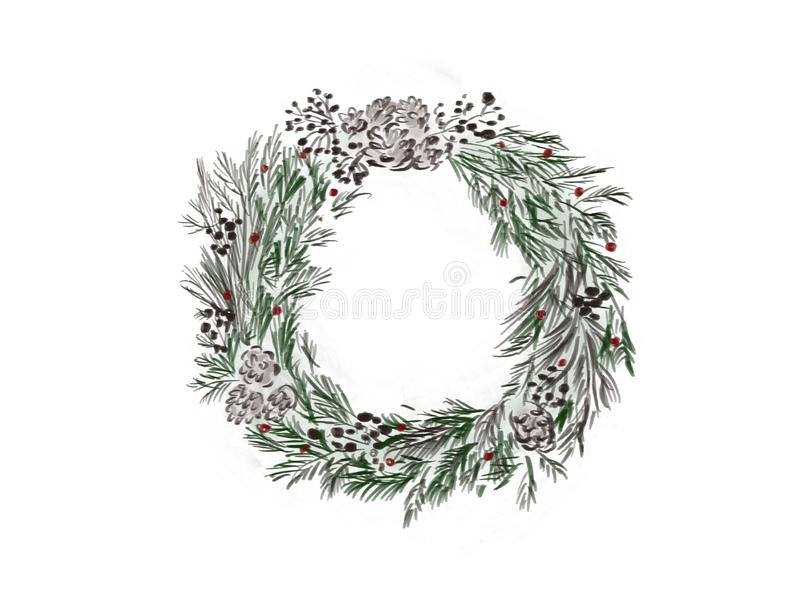 Christmas wreath. Stylish rustic christmas wreath with green fir stock illustration