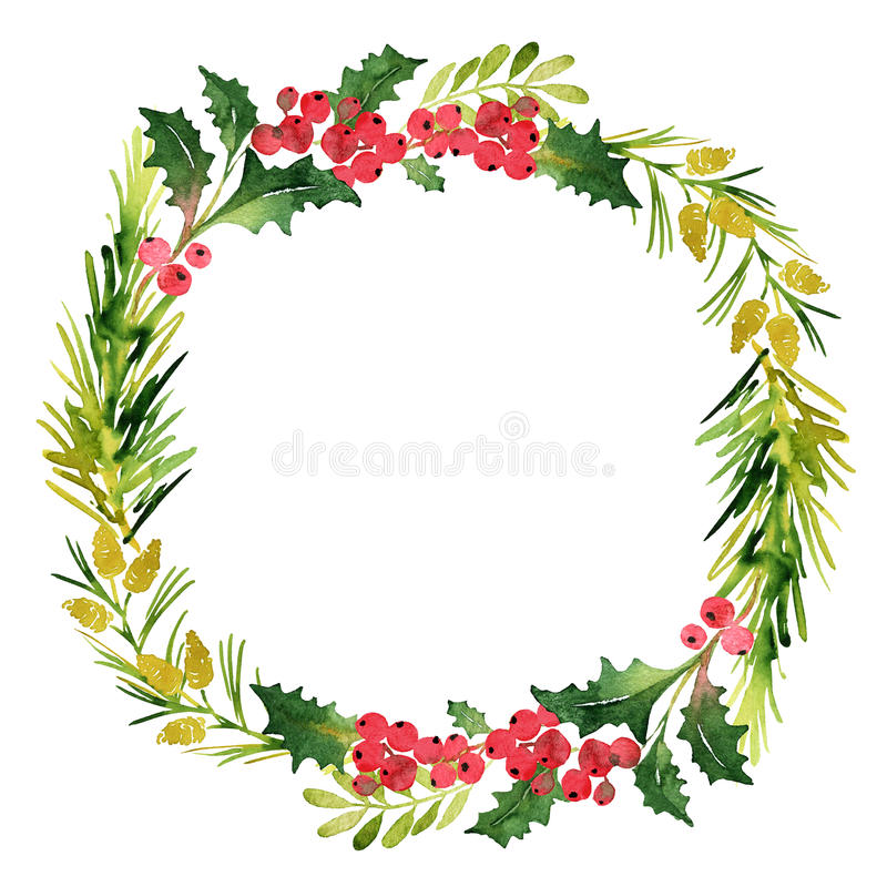 Christmas wreath with twigs and berries. Christmas wreath with twigs, pines and berries stock illustration