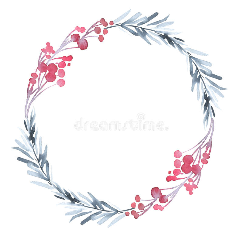 Christmas wreath with twigs and berries. Christmas silver wreath with twigs and berries stock illustration