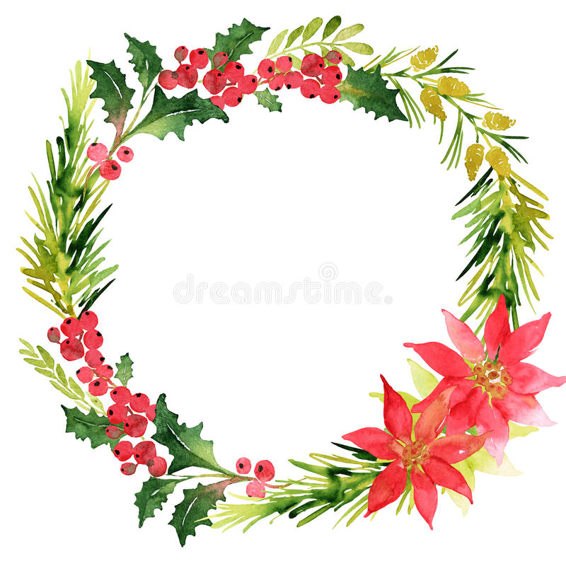 Christmas wreath with twigs, poinsettia and berries. Christmas wreath with twigs, poinsettia, pines and berries vector illustration
