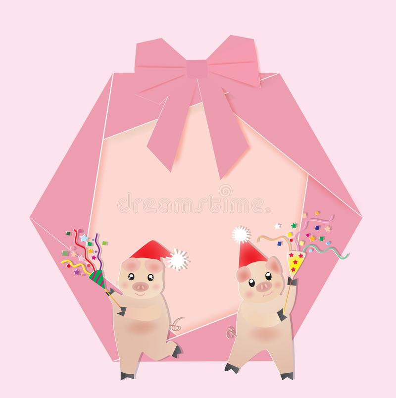 Christmas wreath with two pigs and poppers stock images