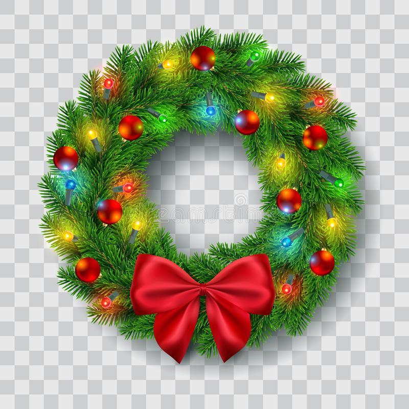 Christmas wreath vector illustration. Christmas wreath with lights, baubles and red ribbon bow decoration, vector illustration royalty free illustration