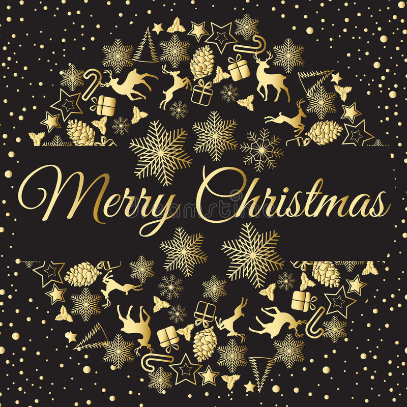 Christmas wreath vector illustration. Merry Christmas congratulations stock illustration