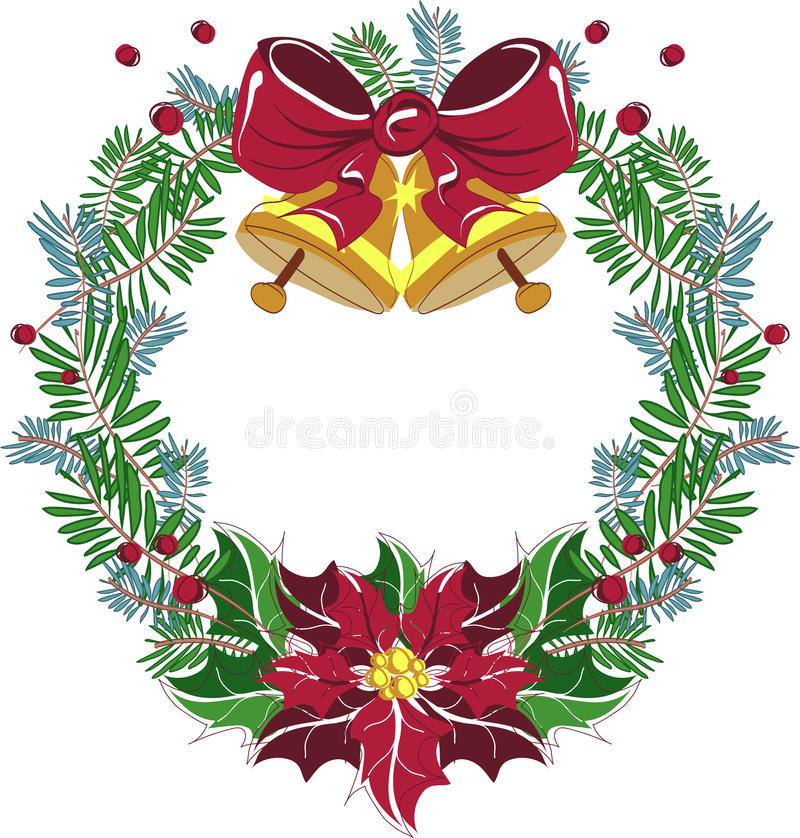 Christmas Wreath Vector with red bow and poinsettia royalty free illustration