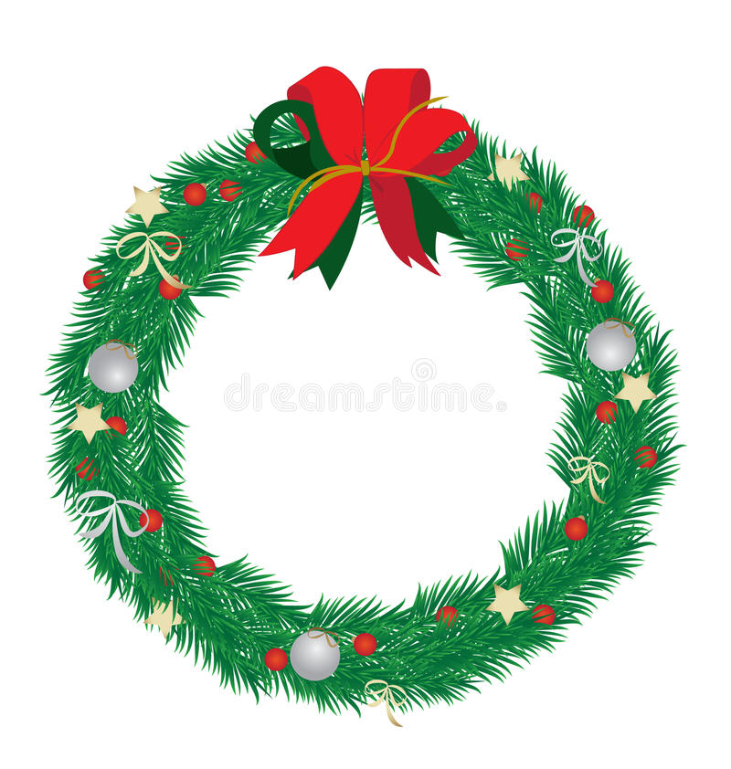 Christmas wreath. On white background vector illustration