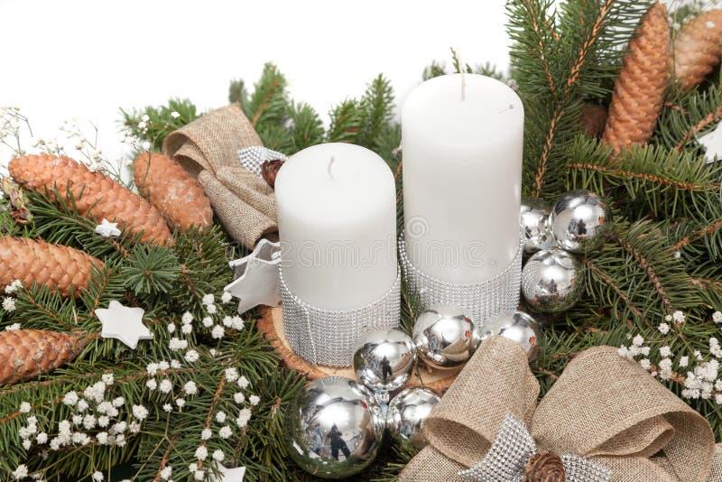 Christmas wreath on white. Christmas wreath decoration on white background stock photography
