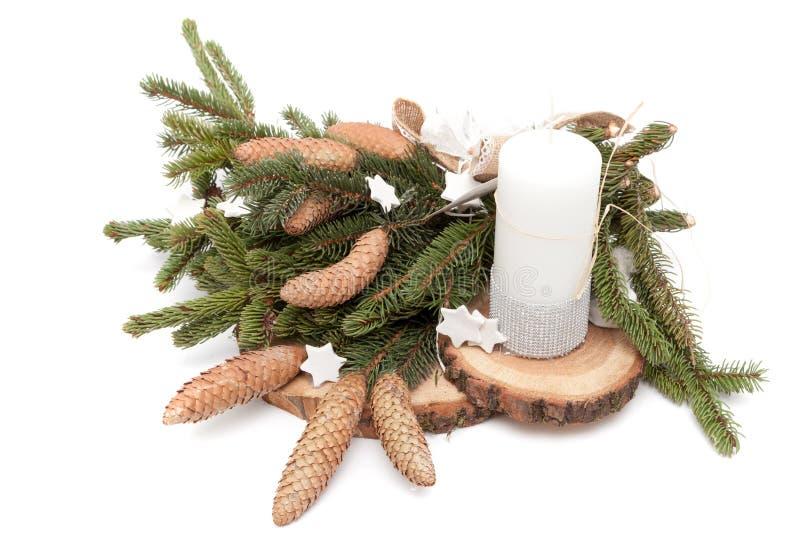 Christmas wreath on white. Christmas wreath decoration on white background royalty free stock images