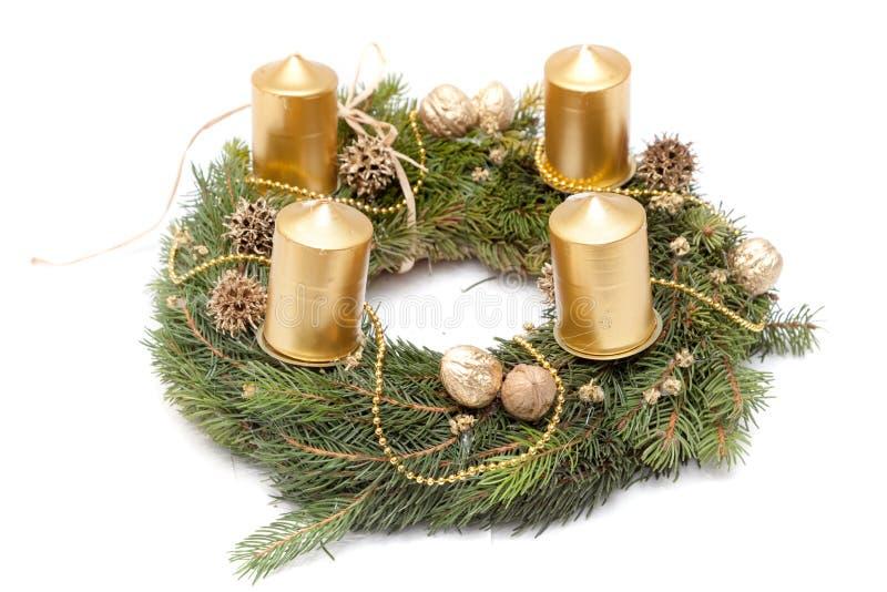 Christmas wreath on white. Christmas wreath decoration on white background royalty free stock photo