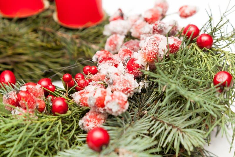 Christmas wreath on white. Christmas wreath decoration on white background stock images