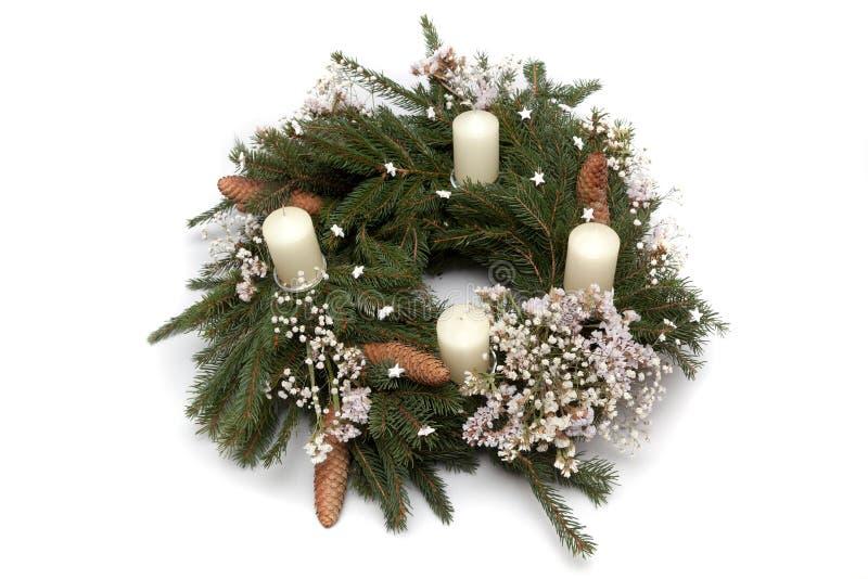 Christmas wreath on white. Christmas wreath decoration on white background stock photos