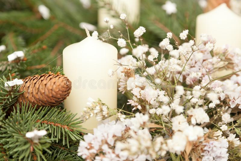 Christmas wreath on white. Christmas wreath decoration on white background stock photo