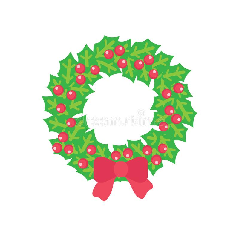 Free Christmas Wreath With Holly Red Berries And Bow Stock Photo - 137225240