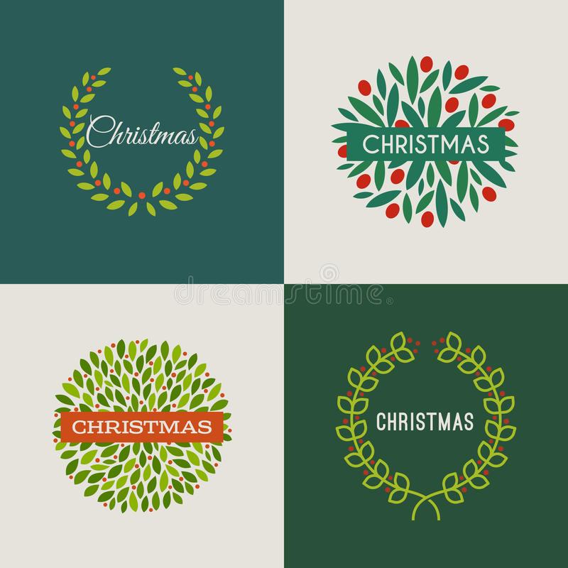 Free Christmas Wreath With Red Holly Berries. Set Of Vectors Royalty Free Stock Photo - 35354865