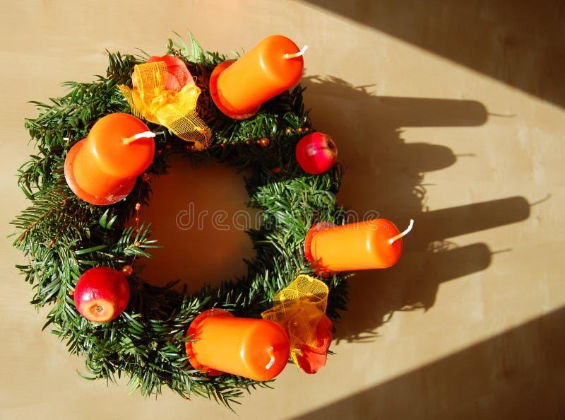 Christmas wreath on wood stock images