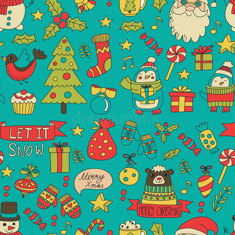 Christmas Xmas New year Vector doodle set of icons with Santa Claus, penguin, snowman, bear, presents, christmas. Decoration stock illustration
