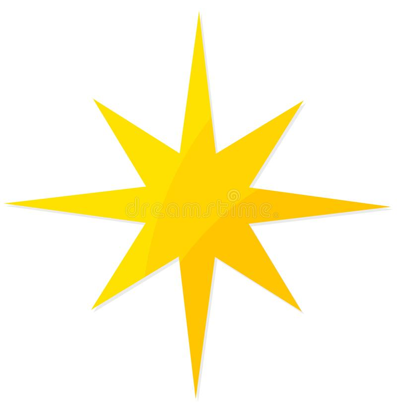 Christmas yellow star. Flat design icon illustration royalty free illustration