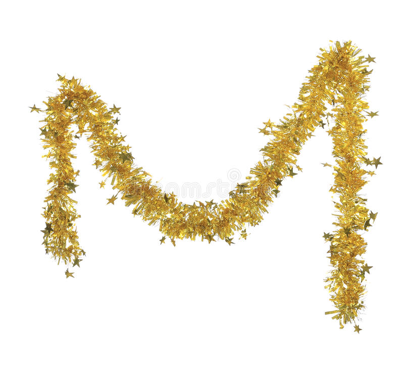 Christmas yellow tinsel with stars. Isolated on a white background royalty free stock photos