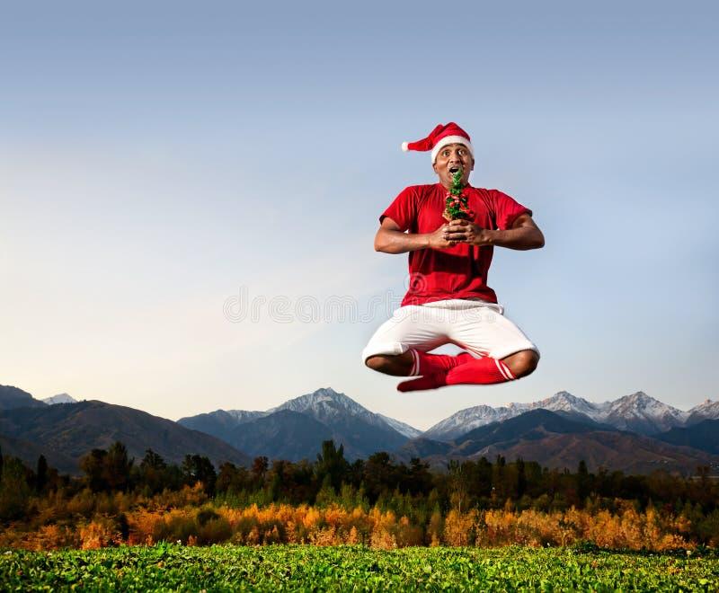 Christmas yoga royalty free stock photography