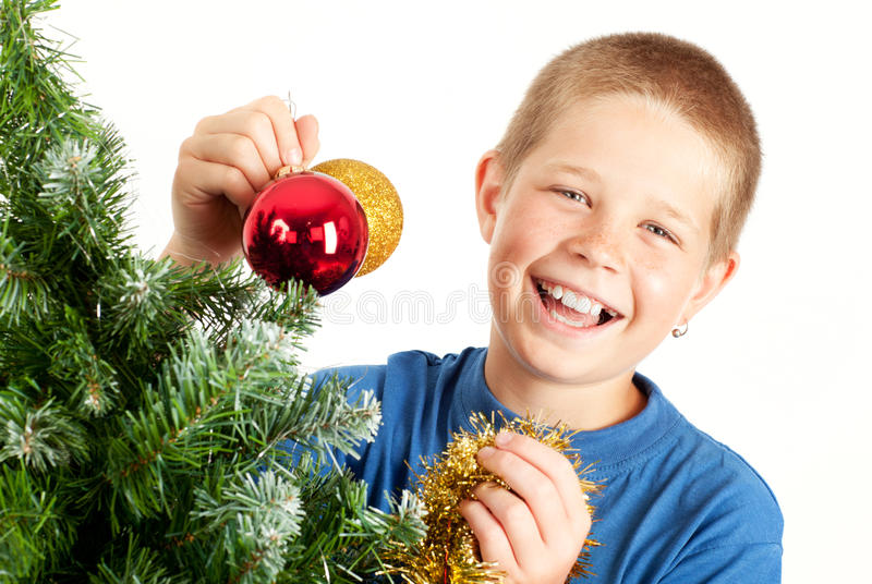 Christmas and young boy stock images