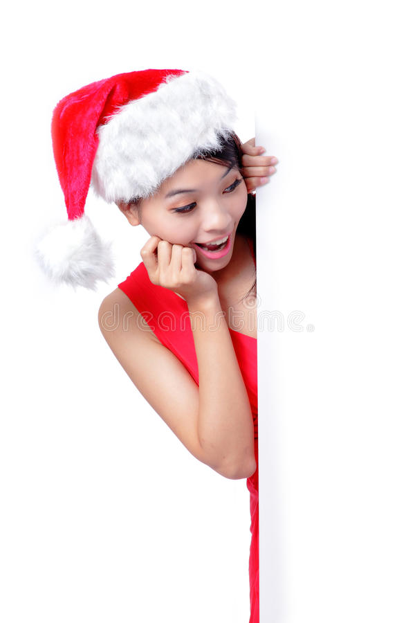 Download Christmas Young Girl Showing Blank Billboard Stock Photo - Image of adult, happiness: 26910332