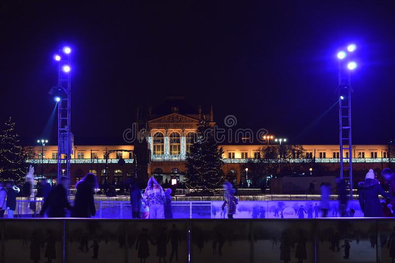 Christmas in Zagreb, Croatia, Central railway station decor stock images