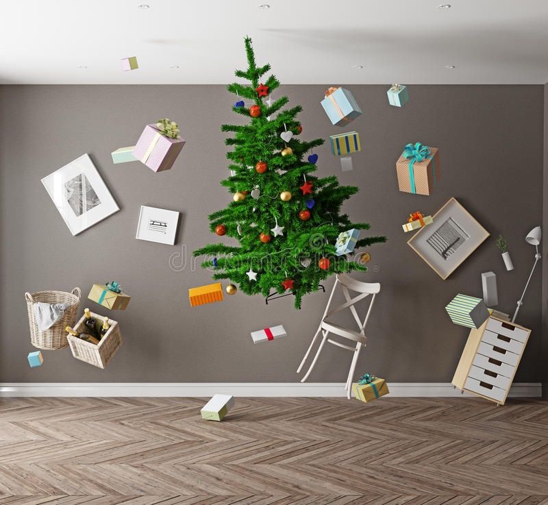 Christmas zero gravity. Room with a Christmas tree and zero gravity. 3d concept vector illustration