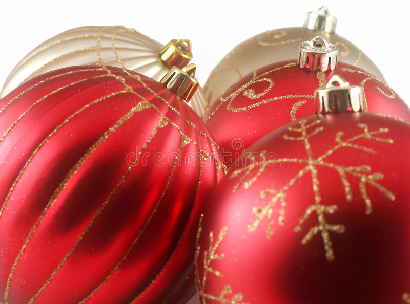 Christmas7. Red and golden christmas decoration isolated on white - great for backgrounds royalty free stock photo