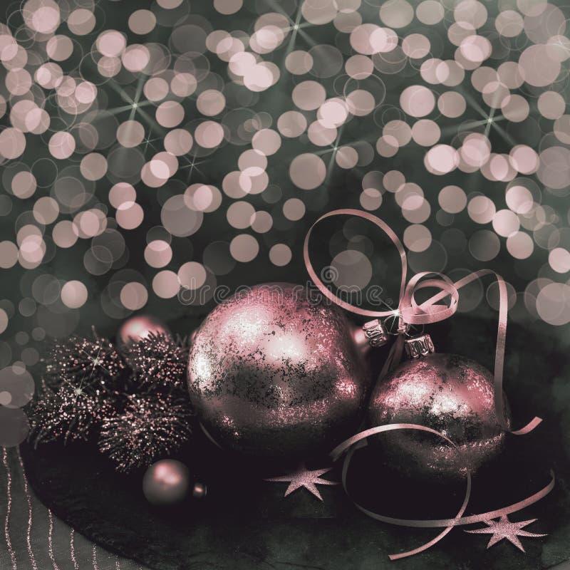 =Christmasdecoratie op abstracte achtergrond royalty-vrije stock afbeeldingen