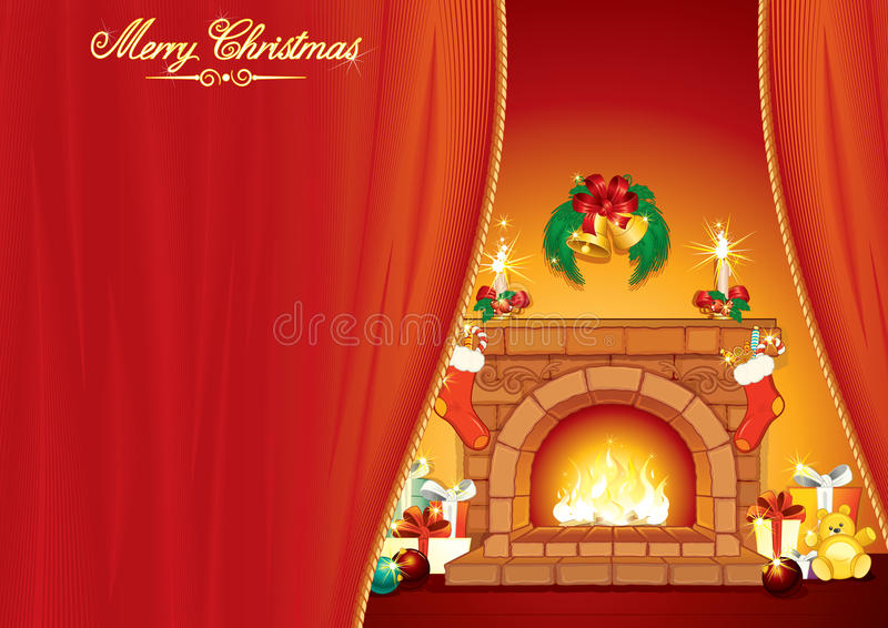 Download Christmases Interior stock vector. Illustration of fireplace - 17324341