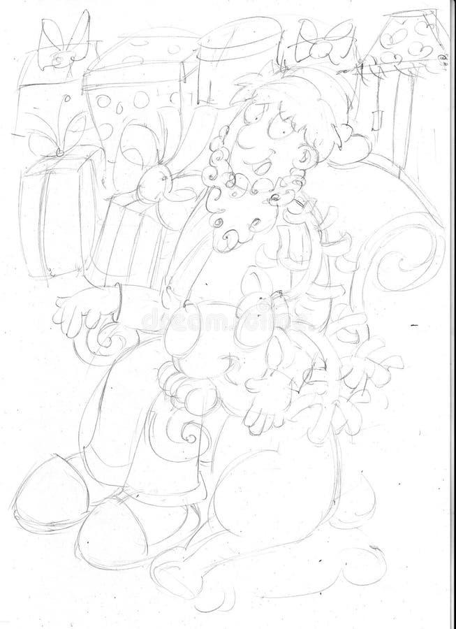 ChristmasHamper с северным оленем и подарками, эскизами и карандашем делает эскиз к и doodles иллюстрация вектора