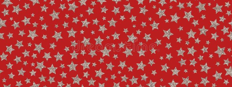 Christmass błyskotliwości srebra gwiazdy powtarzają bezszwowego deseniowego tło Może Używać Dla tkaniny, tapeta, materiały, Pakow ilustracja wektor