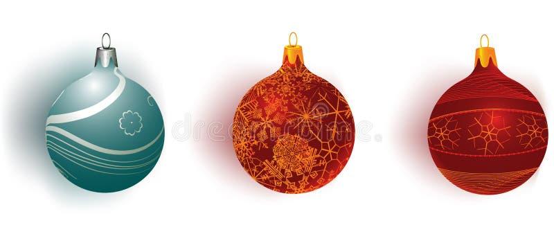 Christmass balls. Three christmas balls on white background royalty free illustration