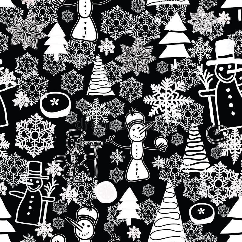 Christmass blanco y negro que repite el modelo con el muñeco de nieve, copos de nieve, nieve, árbol de los chsistmas, anis libre illustration