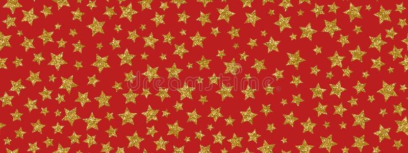 Christmass-Funkeln-Goldsterne wiederholen nahtlosen Musterhintergrund Für Gewebe, Tapete, Briefpapier verwendet werden, kann das  stock abbildung