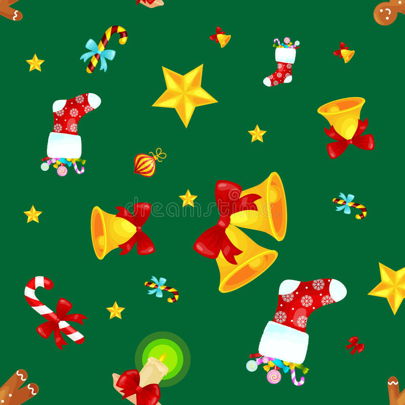 Christmass seamless pattern gingerbread man cookies, jingle bells stocking gifts, xmas background decoration elements. Christmass seamless pattern with vector illustration