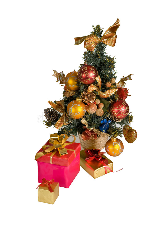 Christmass tree and gifts boxes royalty free stock image