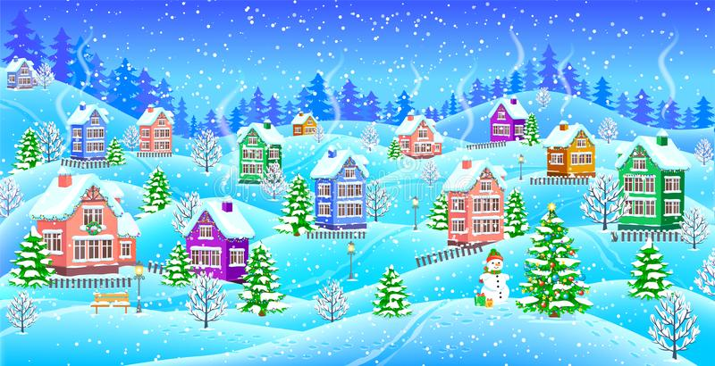 Winter landscape with snowcovered houses snowman and Christmas t vector illustration