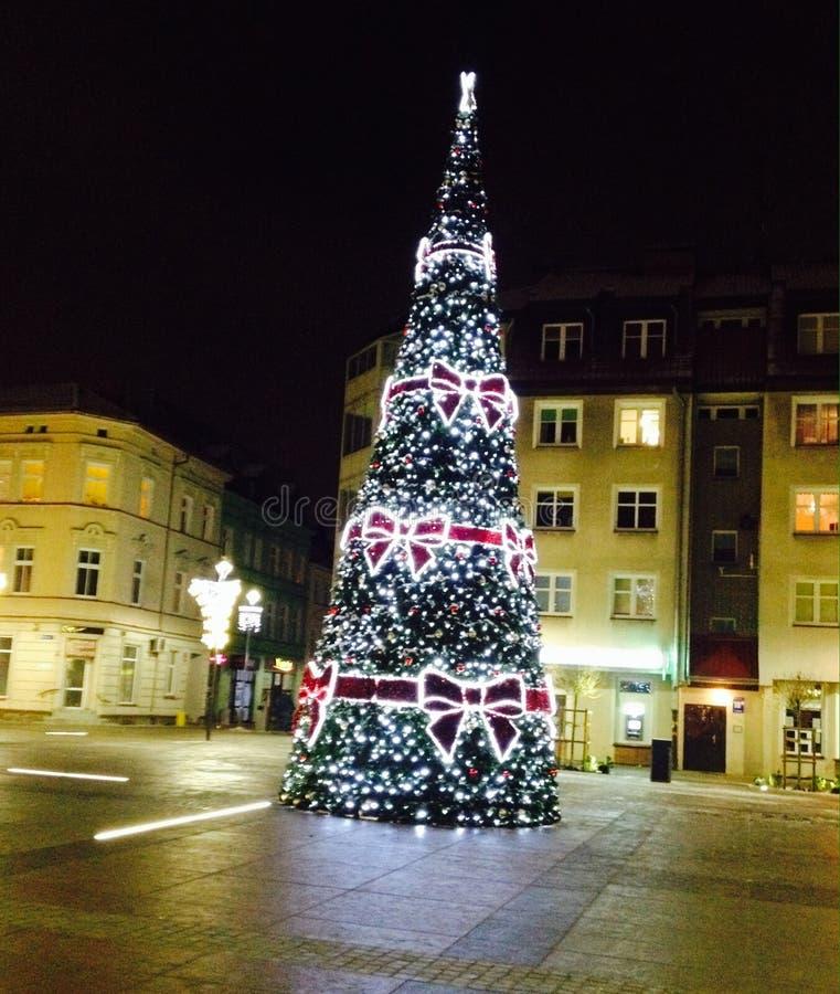 Christmastree,夜,圣诞节,城市,装饰 库存图片