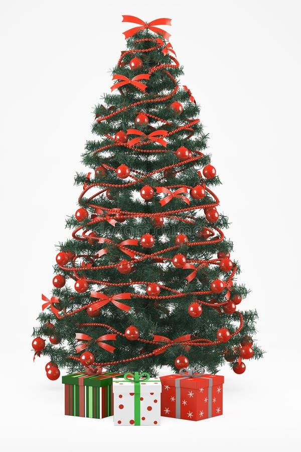 Christmastree mit 3 Geschenken lizenzfreie abbildung