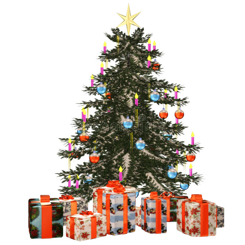 Christmastree mit präsent 1 stock abbildung