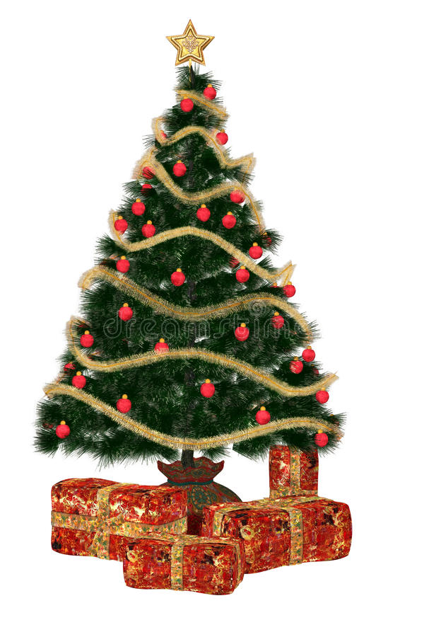 Christmastree with present royalty free illustration