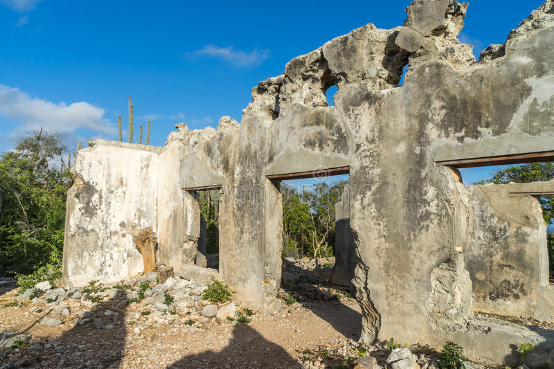 Christoffel National park - ruined landhouse window royalty free stock images