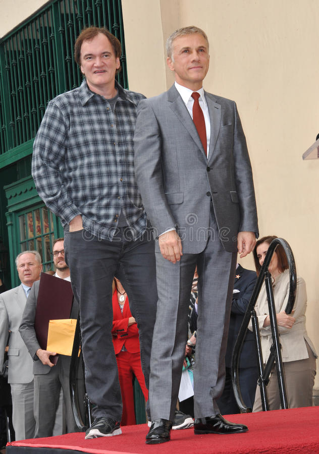 Christoph Waltz & Quentin Tarantino. LOS ANGELES, CA - DECEMBER 1, 2014: Christoph Waltz with Quentin Tarantino at Hollywood Walk of Fame ceremony honoring royalty free stock photo