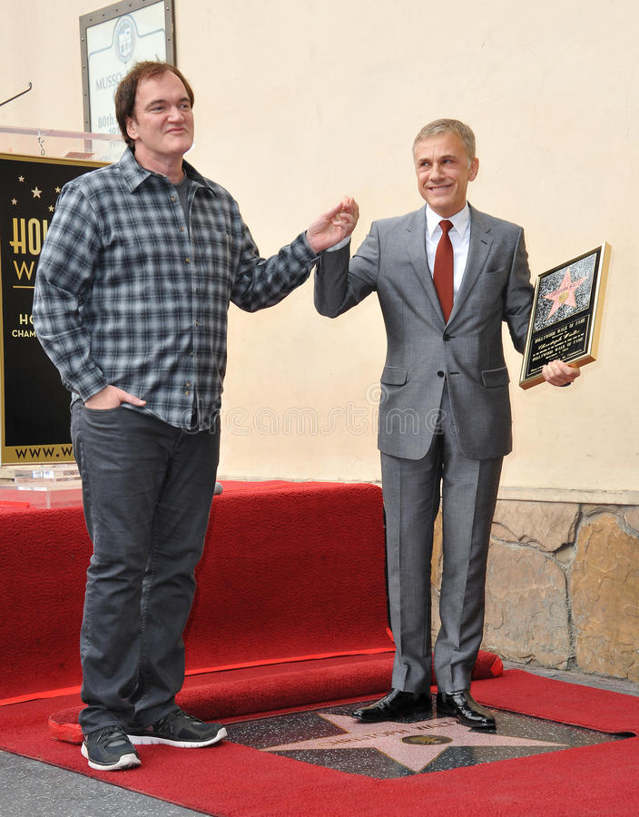 Christoph Waltz & Quentin Tarantino. LOS ANGELES, CA - DECEMBER 1, 2014: Christoph Waltz with Quentin Tarantino at Hollywood Walk of Fame ceremony honoring stock photos