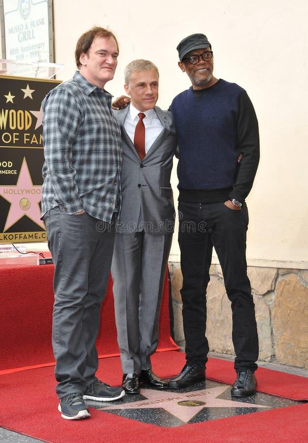 Christoph Waltz & Quentin Tarantino & Samuel L jackson fotografia stock