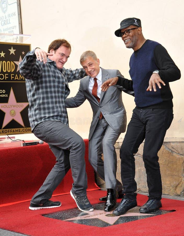 Christoph Waltz & Quentin Tarantino & Samuel L. Jackson. LOS ANGELES, CA - DECEMBER 1, 2014: Christoph Waltz with Quentin Tarantino & Samuel L. Jackson at royalty free stock photography
