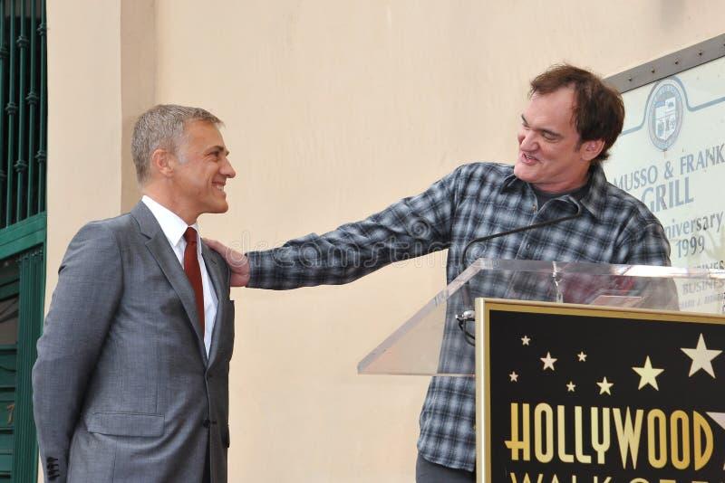 Christoph Waltz u. Quentin Tarantino stockbild