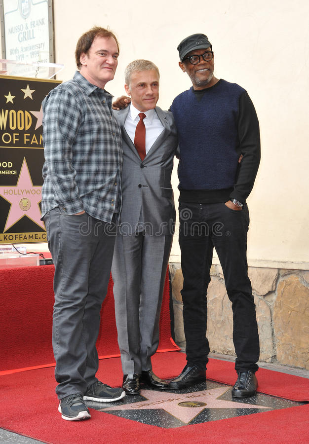 Christoph Waltz u. Quentin Tarantino u. Samuel L jackson stockfotografie