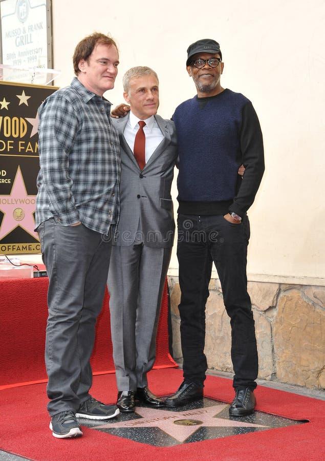 Christoph Waltz u. Quentin Tarantino u. Samuel L jackson lizenzfreie stockfotografie